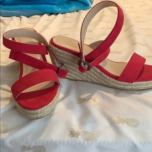 Shoes - Red strappy espadrille wedge sandals